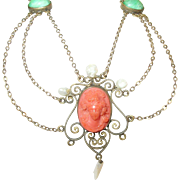 Victorian Festoon Necklace  Gold Filled Coral Sea-Salt-Water-Pearls