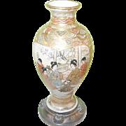 SALE Vintage Satsuma Miniature Vase Silver Base