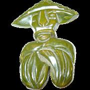 SALE Vintage Bakelite Brooch Oriental Character