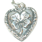 SALE Vintage Sterling Puffy Heart Charm Shamrock