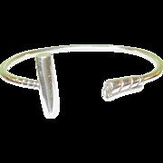 SALE Vintage 900 Coin Silver Cuff Bracelet Polo Stick Design