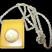 SALE Vintage Bakelite Pendant Gold Filled Necklace
