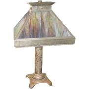 SALE Vintage Trench Art Lamp Stained Glass