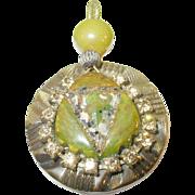 SALE Vintage Bakelite Rhinestone Pendant