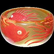 SALE Vintage Bakelite Apple Juice Wide Carved Bangle Fish Design 1990's