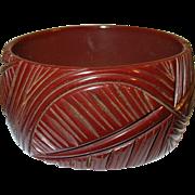 SALE Vintage Bakelite Heavily Carved Bangle Palm Leaf design