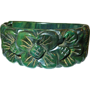 SALE Vintage Bakelite Hinged Bangle Heavily Carved