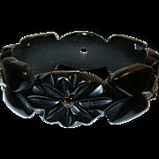 SALE Vintage Bakelite Bangle Carved Flowers