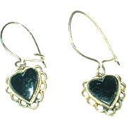 SALE Vintage 14K Drop Earrings Heart Shaped Black Onyx