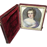 SALE Antique Miniature Portrait Painting 1820's