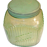 SALE Depression Glass Storage Jar Green