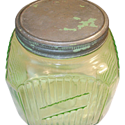 SALE Depression Green Glass Storage Jar