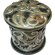 SALE Antique Lacquer Cut Silver Work Box 19th Century
