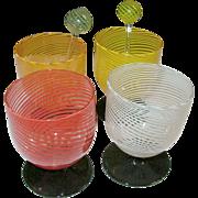 SALE Vintage Murano Multicolored Stemware Set 4 pcs
