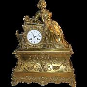 SALE Antique Bronze Mantel Clock European 1850's