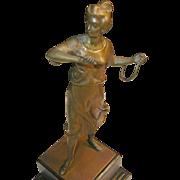 SALE Vintage Bronze Sculpture on Wooden Pedestal