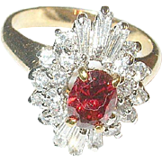 SALE Gold Filled Cocktail Ring Faux Diamonds Faux Ruby