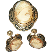 SALE Vintage Shell Cameo Brooch / Earring set