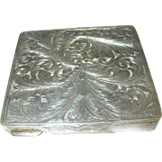 SALE Vintage Sterling Compact Hand Chased Design