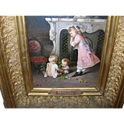 SALE Antique French Oil Painting by R. Dufour Interior Scene with Children