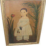 SALE Vintage Folk Art Painting of a Young Girl