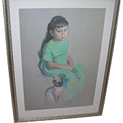 SALE Vintage Betty Warren Lithograph Girl with Cat 386/950