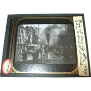 SALE Antique Glass Chrome Photo River Street Fire Troy NY 1884