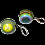 SALE Vintage Bakelite Drop Earrings Multicolored 1990's