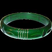 SALE Vintage Bakelite Carved Bangle Translucent Green