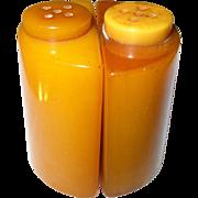SALE Vintage Bakelite Salt / Pepper Shakers Marbleized Butterscotch
