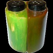 SALE Vintage Bakelite Salt / Pepper Shakers Marbleized Green
