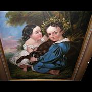 SALE Oil on Canvas Children / Dog Portrait 1790's-1820's