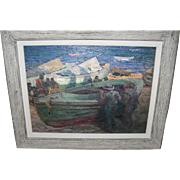 SALE Impressionist Oil Painting Seaside Fishermen / Boats