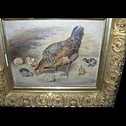 SALE Folk Art Oil Painting on Board Hen / Chicks