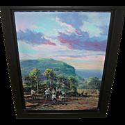 "SALE Wichie Torres Oil on Canvas ""Manigua Enla Altura"""