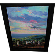 SALE Wichie Torres Oil on Canvas Group of Puerto Girls and Men Flying Kites