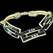 SALE Vintage Link Bracelet Lucite / Rhinestones