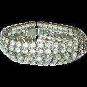 SALE Vintage Wide Rhinestone Bracelet Extra Wide