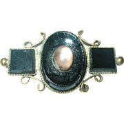SALE Vintage Mourning Brooch Gold Filled Black Onyx Moonstone
