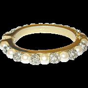 SALE Vintage Les Bernard Hinged Bangle Faux Pearls/Rhinestones