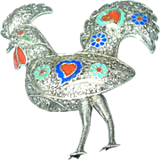 SALE Vintage 900 Coin Silver Filigree Brooch Rooster Design Enamel Work