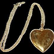 SALE Vintage Gold Filled Heart Shaped Locket  Sterling/Vermeil Necklace