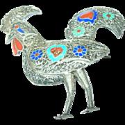 SALE Vintage 900 Coin Silver Enameled Rooster Brooch
