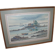 SALE Vintage Seascape Water Color by R. Torre