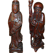 SALE Vintage Wooden Sculptures 1930's Chinese Figures
