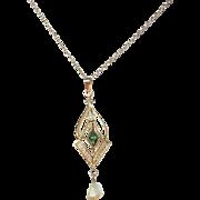 SALE Edwardian 14K Lavaliere Necklace Green Tourmaline/Salt Water Pearl