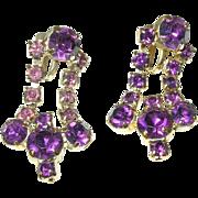 SALE Vintage Chandelier Earrings Lavender Rhinestones