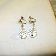 SALE Vintage Gold Filled & Crystal Drop Earrings by B.M. Co.