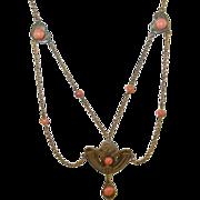 SALE Antique Art Nouveau Coral & Gold Filled Festoon Necklace
