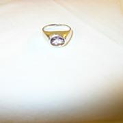 SALE Vintage Ring Sterling Lavender Glass Stone
